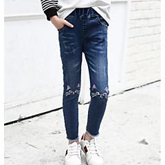 billige Bukser og leggings til piger-Børn Pige Basale Ensfarvet Bomuld Jeans