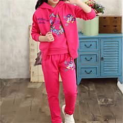billige Hættetrøjer og sweatshirts til piger-Børn Pige Tegneserie Trykt mønster Langærmet Bomuld Tøjsæt