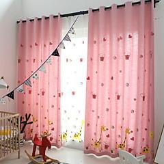 baratos Tratamentos para Janelas-Cortina Lápis Plissado Painel 2*(W140cm×L259cm) Rosa claro / Quarto das Crianças