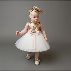 billige Babytøj-Baby Pige Aktiv / Basale Ferie / I-byen-tøj Trykt mønster Pailletter / Sløjfer / Net Uden ærmer Normal Bomuld / Polyester Kjole Guld 110