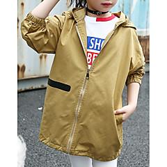 billige Jakker og frakker til piger-Børn Pige Basale Geometrisk Langærmet Bomuld Trenchcoat
