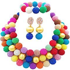 baratos Conjuntos de Bijuteria-Mulheres Camadas Conjunto de jóias - Bola Fashion Incluir Pulseiras Strand Verde / Rosa claro / Rosa Para Diário