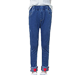 billige Jeans til piger-Børn Pige Gade / Punk & gotisk Sport Trykt mønster Hul / Trykt mønster Bomuld Jeans