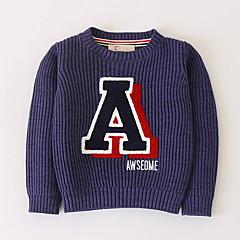 billige Sweaters og cardigans til drenge-Børn Drenge Basale Daglig Patchwork Trykt mønster Langærmet Normal Bomuld / Akryl Trøje og cardigan Navyblå