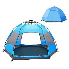 billige Telt og ly-4 personer utendørs Familie Camping Telt Regn-sikker UV-bestandig UPF50+ Automatisk Ett Rom Dobbelt Lagdelt 2000-3000 mm Telt til Camping / Vandring / Grotte Udforskning PU Leather 240*240*135 cm