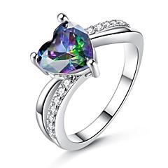 billige Motering-Dame Kubisk Zirkonium Elegant Ring - Kobber Hjerte Koreansk, Mote 6 / 7 / 8 / 9 Regnbue Til Gave Stevnemøte