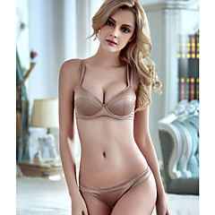 billige BH'er-Kvinner Sexy Sett med truse og BH Dytt opp / BH med bøyler 1/2-kopp - Broderi
