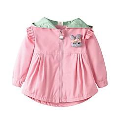 billige Overtøj til babyer-Baby Pige Aktiv / Basale I-byen-tøj Ensfarvet / Patchwork Langærmet Lang Trenchcoat