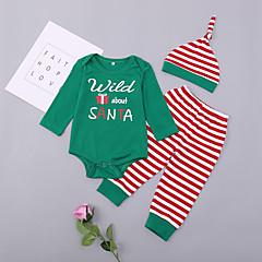 billige Sett med babyklær-Baby Pige Stribet Langærmet Tøjsæt