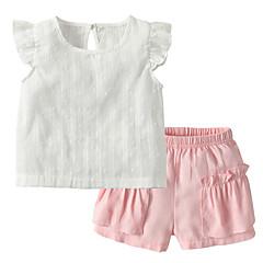 billige Sett med babyklær-Baby Pige Ensfarvet Uden ærmer Tøjsæt