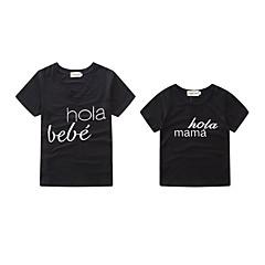 billige Sett med familieklær-Baby Mamma og meg Aktiv / Grunnleggende Daglig / Ferie Bokstaver Trykt mønster Kortermet Normal Spandex T-skjorte Svart Gutter 100