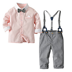 ieftine Haine Bebeluși Băieți-Bebelus Băieți Casual / Activ Zilnic / Concediu Mată / Bloc Culoare Imprimeu Manșon Lung Regular Regular Bumbac / Poliester Set Îmbrăcăminte Roz Îmbujorat / Copil