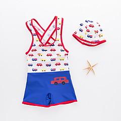 billige Badetøj til drenge-Baby Drenge Strand Trykt mønster / Farveblok Trykt mønster Bomuld Badetøj