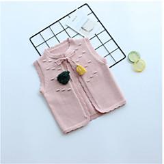 billige Sweaters og cardigans til piger-Børn Pige Basale Daglig Ensfarvet Uden ærmer Normal Bomuld / Polyester Trøje og cardigan Hvid