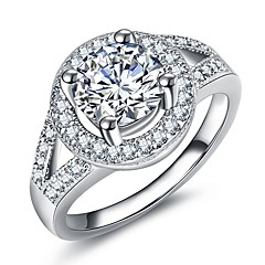 billige Motering-Dame Elegant Ring / Løftering - Platin Belagt, Fuskediamant Øyne, Ball Luksus, Romantikk, Mote 5 / 6 / 7 Sølv Til Fest / Engasjement