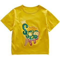 billige Pigetoppe-Børn Pige Basale Trykt mønster Pailletter / Broderi Kortærmet Bomuld T-shirt
