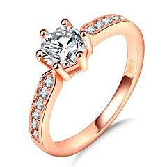billige Motering-Dame Elegant Band Ring / Ring - Gullplatert rose, Fuskediamant Prinsesse, Heldig Romantikk, Mote, Fransk 5 / 6 / 7 Rose Gull Til Fest / Gave