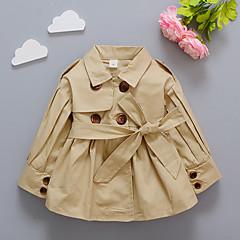 billige Overtøj til babyer-Baby Pige Basale / Gade I-byen-tøj Ensfarvet Blondér Langærmet Lang Jakke og frakke