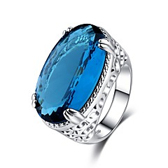 billige Motering-Dame Vintage Stil Statement Ring Ring - Kobber, Strass, Platin Belagt Dyrebar Vintage, Overdrivelse, Elegant 6 / 7 / 8 / 9 / 10 Blå Til Fest Bursdag