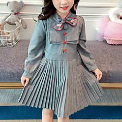 baratos Roupas de Meninas-Infantil Para Meninas Listrado Manga Longa Vestido