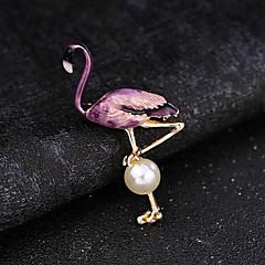 billige Motebrosjer-Herre Ferskvannsperle Elegant / Perler Nåler - Kreativ, Flamingo Luksus, Mote, Elegant Brosje Lilla / Rød / Blå Til Fest / Daglig