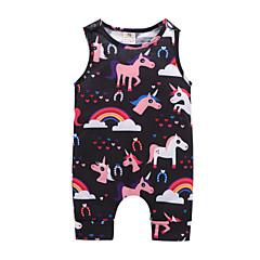 billige Babytøj-Baby Pige Aktiv / Basale I-byen-tøj Trykt mønster Uden ærmer Bomuld En del