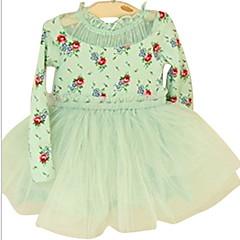 baratos Roupas de Meninas-Infantil Para Meninas Sólido / Floral Manga Longa Vestido