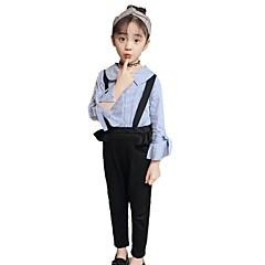 billige Tøjsæt til piger-Børn Pige Basale Skole Stribet Sløjfer / Drapering Langærmet Bomuld Tøjsæt