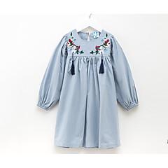 baratos Roupas de Meninas-Infantil Para Meninas Sólido Manga Longa Vestido