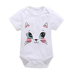 billige Babytøj-Baby Pige Aktiv / Basale I-byen-tøj Kat Trykt mønster Kort Ærme Bomuld Bodysuit