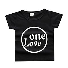 billige Babyoverdele-Baby Pige Aktiv Trykt mønster Kortærmet Polyester T-shirt Blå