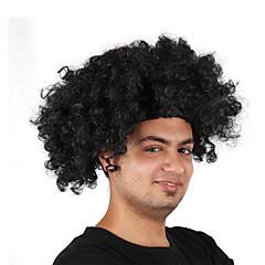 billiga Peruker och hårförlängning-Syntetiska peruker / Kostymperuker Lockigt Bob-frisyr Syntetiskt hår 12 tum Cosplay / För europeisk / Fluffig Svart / Brun Peruk Herr / Dam Korta Maskingjord Beige