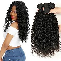 Χαμηλού Κόστους Εξτένσιον από Ανθρώπινη Τρίχα-3 δεσμίδες Ινδική Kinky Curly 8A Φυσικά μαλλιά Χωρίς επεξεργασία Ανθρώπινη Τρίχα Υφάνσεις ανθρώπινα μαλλιών Προέκταση δέσμη μαλλιών 8-28 inch Μαύρο Φυσικό Χρώμα Υφάνσεις ανθρώπινα μαλλιών Μηχανοποίητο