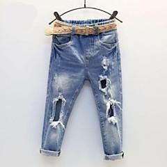 baratos Roupas de Meninas-Bébé Para Meninas Sólido Jeans