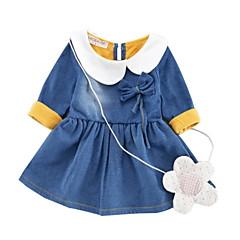billige Babykjoler-Baby Pige Aktiv Daglig Patchwork Patchwork Langærmet Knælang Bomuld / Polyester Kjole Blå