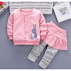 billige Sett med babyklær-Baby Pige Basale Ensfarvet / Farveblok Patchwork Langærmet Bomuld Tøjsæt