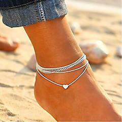 baratos Bijoux de Corps-Corda tornozeleira - Coração Férias, Europeu, Fashion Prata Para Diário Mulheres