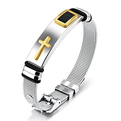 cheap Men's Bracelets-Men's Classic Stylish Chain Bracelet Bracelet Bangles Cuff Bracelet - 18K Gold Plated, Stainless Cross, Creative Statement, Fashion, Elegant Bracelet Jewelry Gold / Black For Daily Office & Career
