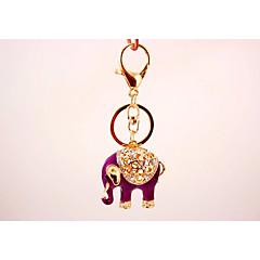 baratos Chaveiros-Elefante Chaveiro Roxo Irregular, Animal Imitações de Diamante, Liga Decorada com Pedrarias / Strass, Fashion Para Presente / Diário