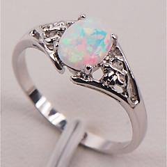 billige Motering-Dame Syntetisk Opal Elegant Solitaire Ring - S925 Sterling Sølv Flower Shape, Pære Stilfull, Natur, Elegant 6 / 7 / 8 / 9 / 10 Regnbue Til Gave Ut på byen
