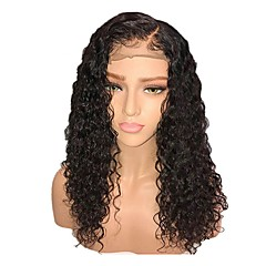 cheap Synthetic Lace Wigs-Synthetic Wig / Synthetic Lace Front Wig Women's Curly Black Layered Haircut / Side Part Synthetic Hair 18 inch with Baby Hair / Adjustable / Natural Hairline Black Wig Short Lace Front Natural Black