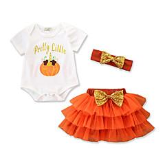 billige Babytøj-Baby Pige Afslappet / Aktiv Fest / Ferie Trykt mønster / Frugt Pailletter / Sløjfer / Flettet Kortærmet Tøjsæt / Net