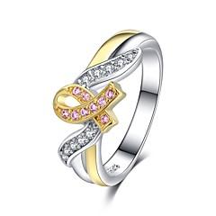 billige Motering-Dame Klassisk Elegant Ring - Platin Belagt, Fuskediamant Kreft, Håp Unikt design, Mote 6 / 7 / 8 / 9 / 10 Regnbue Til Daglig Formell