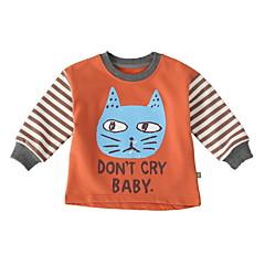 billige Sweaters og cardigans til babyer-Baby Pige Basale Daglig Ensfarvet / Trykt mønster Kortærmet Normal Polyester Trøje og cardigan Orange 100