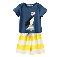 tanie Odzież dla chłopców-Dzieci Dla chłopców Prążki / Nadruk Krótki rękaw Komplet odzieży