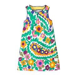 economico Abbigliamento per bambine-Bambino Da ragazza Dolce Fantasia floreale / Monocolore Senza maniche Vestito Verde