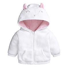 billige Overtøj til babyer-Baby Pige Basale Daglig / I-byen-tøj Ensfarvet Langærmet Normal Bomuld / Polyester Jakke og frakke Hvid 100