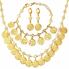 baratos Conjuntos de Bijuteria-Mulheres Link / Corrente Conjunto de jóias - Pedaço de Platina, Chapeado Dourado Clover Clássico, Hipérbole, Fashion Incluir Colar Brincos / pulseira Dourado / Prata Para Presente Cerimônia