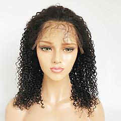 billiga Peruker och hårförlängning-Äkta hår Spetsfront Peruk Brasilianskt hår Burmesiskt hår Kinky Curly Peruk Bob-frisyr 130% Hårtäthet Dam Enkel på- och avklädning Bästa kvalitet Naturlig Dam Korta Äkta peruker med hätta