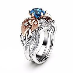 billige Motering-Dame Blå Skulptur Ring Ring Set - Platin Belagt, Fuskediamant Blomst, Flower Shape trendy, Mote, Fargerik 6 / 7 / 8 / 9 / 10 Sølv Til Fest Ferie / 2pcs